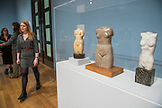 The Carvings room - Barbara Hepworth: Sculpture for a Modern World opens at Tate Britain -  the first London museum retrospective or five decades of the work of Hepworth (1903-75), one of Britain's greatest artists. This major retrospective opens on 24 June 2015 and will emphasise Hepworth's prominence in the international art world. It highlights the different contexts and spaces in which Hepworth presented her work, from the studio to the landscape. Highlights include: A room dedicated to a series of sculptures Hepworth carved in the 1940s, which are characterised by the dramatic hollowing out of pieces of wood and the painting of the interior spaces she opened up. Works in this room include the famous Pelagos 1946 ('sea' in Greek), which was inspired by a view of the bay of St Ives, Cornwall; Imposing wooden sculptures made from huge logs of the sumptuous tropical hardwood guarea, such as Corinthos 1954-5 – a grand 1 metre x 1 metre sculpture named after the ancient Greek city in which Hepworth summed up the light and landscape of Greece. The unusually large size of guarea pieces allowed Hepworth to experiment with interior spaces through the use of string, spiralling edges, paint or rough carved surfaces to maximise the effect of light; An architectural installation inspired by the Rietveld Pavilion, originally built at the Kröller-Müller Museum, Otterlo in 1965 which housed a display of Hepworth bronzes at its opening. The structure in the exhibition explores how Hepworth presented her works and how she worked on an international stage. Barbara Hepworth: Sculpture for a Modern World is at Tate Britain from 24 June to 25 October 2015.