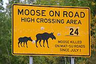 11th September 2008, Wasilla, Alaska. A road sign warning of the danger to motorists hitting Moose near the home of US Republican Vice Presidential pick Sarah Palin in Alaska. PHOTO © JOHN CHAPPLE / REBEL IMAGES.tel: +1-310-570-910