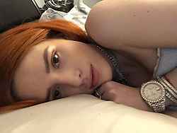 """Bella Thorne releases a photo on Instagram with the following caption: """"After we stay up late night conversing I\u2019ll stare into ur eyes till the morning time \ud83d\ude0d"""". Photo Credit: Instagram *** No USA Distribution *** For Editorial Use Only *** Not to be Published in Books or Photo Books ***  Please note: Fees charged by the agency are for the agency's services only, and do not, nor are they intended to, convey to the user any ownership of Copyright or License in the material. The agency does not claim any ownership including but not limited to Copyright or License in the attached material. By publishing this material you expressly agree to indemnify and to hold the agency and its directors, shareholders and employees harmless from any loss, claims, damages, demands, expenses (including legal fees), or any causes of action or allegation against the agency arising out of or connected in any way with publication of the material."""