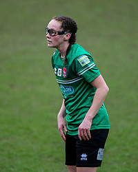 BIRKENHEAD, ENGLAND - Sunday, March 14, 2021: Coventry United's Katy Morris, wearing protective eye glasses, during the FA Women's Championship game between Liverpool FC Women and Coventry United Ladies FC at Prenton Park. Liverpool won 5-0. (Pic by David Rawcliffe/Propaganda)