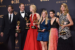 (L-R) Actors Jeffrey Nordling, Alexander Skarsgard, Nicole Kidman , Reese Witherspoon, Zoe Kravitz and Laura Dern, winners of Outstanding Limited Series for 'Big Little Lies', pose in the press room during the 69th Annual Primetime Emmy Awards held at the Microsoft Theater on September 17, 2017 in Los Angeles, CA, USA (Photo by Sthanlee B. Mirador/Sipa USA)