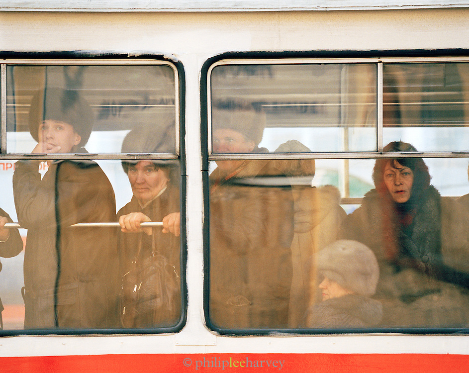 Commuters on a public bus, Irkutsk, Siberia, Russia