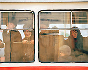 Commuters on a public bus, Irkutsk, Siberia, Russia