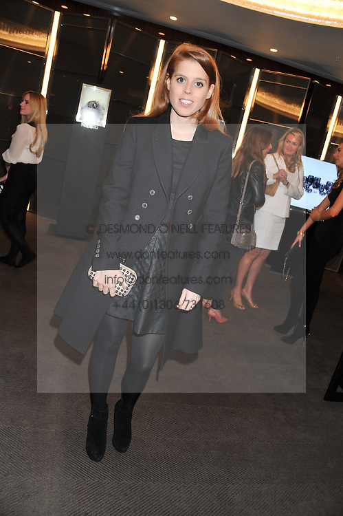 PRINCESS BEATRICE OF YORK at the launch of Samsung's NX Smart Camera at charity auction with David Bailey in aid of Marie Curie Cancer Care at the Bulgari Hotel, 171 Knightsbridge, London on 14th May 2013.