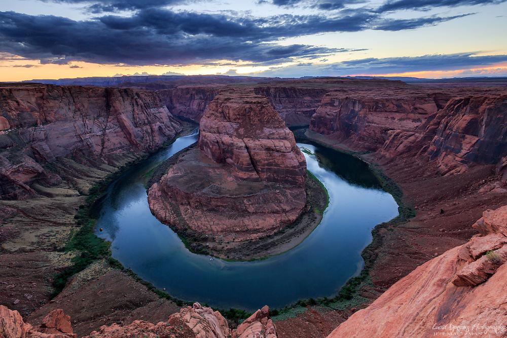 Sunset at Horseshoe Bend on the Colorado River near Page, Arizona