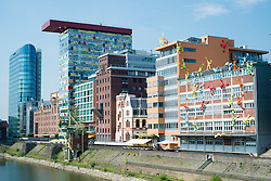 Modern architecture at Medienhafen or Media Harbour property development in Dusseldorf Germany