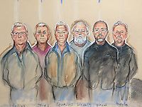 Hatton Garden thieves <br /> L to right<br /> Collins, Jones, Perkins, Lincoln,  Wood and Doyle at their sentencing day, 9th March 2016, Belmarsh