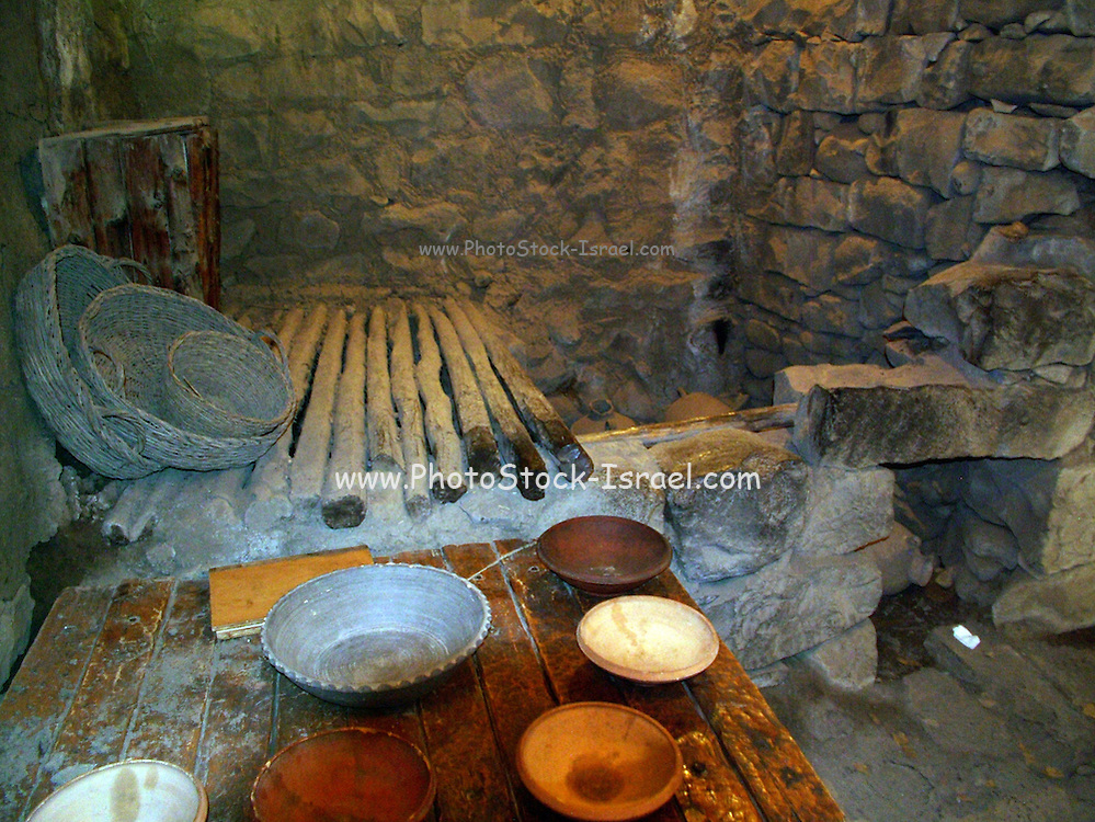 reconstruction of the living quarters in the old Jewish settlement in Katzrin. The ruins of the ancient synagogue in Katzrin built in the 4th-5th centuries. The ruins of the ancient Jewish village of Katzrin are located in the central Golan, some 13 km. northeast of the Sea of Galilee.