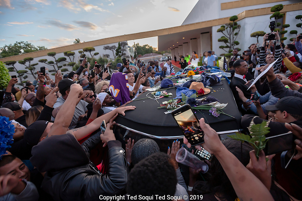 A memorial held at the Staples Center Arena and 25 mile long funeral procession held for slain rapper Nipsey Hussle in Los Angeles.<br /> Funeral procession.<br /> 3/11/2019 Los Angeles, CA USA <br /> (Photo by Ted Soqui/SIPA)