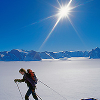 A mountaineer skis near the Muhlig-Hoffman Mountains in Queen Maud Land.