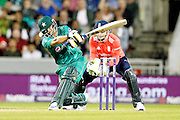 Khalid Latif is glad of his helmet  during the International T20 match between England and Pakistan at the Emirates, Old Trafford, Manchester, United Kingdom on 7 September 2016. Photo by Craig Galloway.