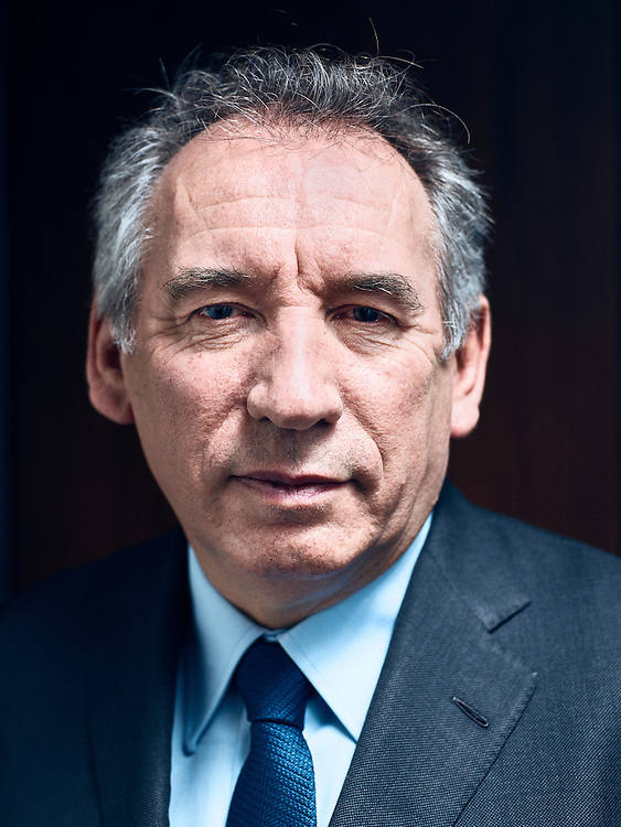 "Paris, France. January 25, 2017. François Bayrou, head of the political mouvement ""Modem"" (""Mouvement Democrate""), at his party's headquarter. Photo: Antoine Doyen"