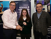 24/11/2019 repro free:<br /> XX GMIT presenting  Special achievement award to Alice Shaughnessy Calasanctius College, Oranmore and Paul Mee, Chairperson, Galway Science and Technology Festival, at the  Galway Science and Technology Festival, exhibition at NUI Galway where over 20,000 people attended exhibition stands  from schools to Multinational Companies . Photo:Andrew Downes, xposure