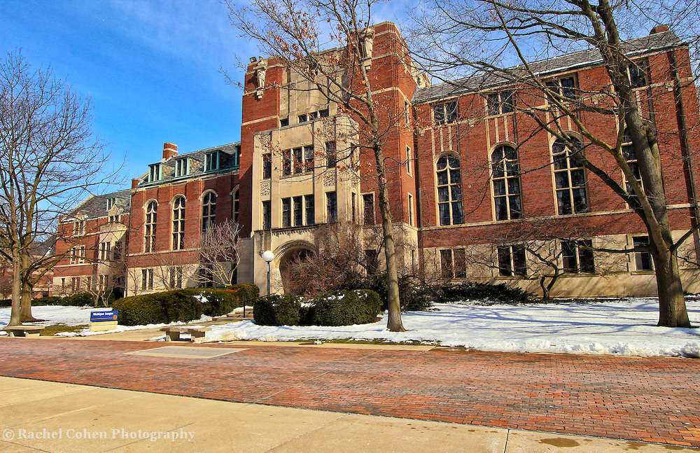 """""""Michigan League""""<br /> <br /> The beautiful architecture of the Michigan League Building on the central campus of the University of Michigan in Ann Arbor. A wonderful wintertime view!!<br /> <br /> Architecture: Structures, buildings and their details by Rachel Cohen"""