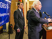 15 AUGUST 2012 - PHOENIX, AZ:  Sen. JOHN MCCAIN and Rep BEN QUAYLE at a press conference Wednesday. Arizona's Republican US Senators, John McCain and Jon Kyl, announced their endorsement of Congressman Ben Quayle (R-AZ) during a press conference in Phoenix Wednesday. They decried the campaign being run by Quayle's opponent, Congressman David Schweikert (R-AZ). Both Quayle and Schweikert are freshman Congressmen from neighboring districts. They were thrown into the same district during the redistricting process and are now waging a bitter primary fight against each other.   PHOTO BY JACK KURTZ