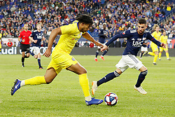 May 15, 2019 - Foxborough, MA, U.S. - FOXBOROUGH, MA - MAY 15: Chelsea FC defender Reece James (16) pushes forward watched by New England Revolution defender Gabriel Somi (91) during the Final Whistle on Hate match between the New England Revolution and Chelsea Football Club on May 15, 2019, at Gillette Stadium in Foxborough, Massachusetts. (Photo by Fred Kfoury III/Icon Sportswire) (Credit Image: © Fred Kfoury Iii/Icon SMI via ZUMA Press)