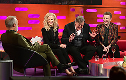 Graham Norton, Nicole Kidman, Stephen Fry and Joe Lycett during the filming of the Graham Norton Show at BBC Studioworks 6 Television Centre, Wood Lane, London.