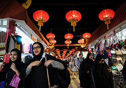 China pavilion and shopping arcade at Global Village tourist cultural attraction in Dubai United Arab Emirates
