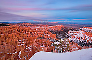 Sunset at Bryce is much less dramatic than sunrise, with only a pale glow in the clouds to mark it's passing, but it has a calm beauty.