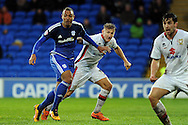 Cardiff City's Kenneth Zohore (l) challenges at a corner. Skybet football league championship match, Cardiff city v MK Dons at the Cardiff city stadium in Cardiff, South Wales on Saturday 6th February 2016.<br /> pic by Carl Robertson, Andrew Orchard sports photography.