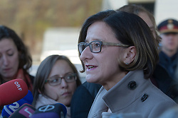 Licensed to London News Pictures. 06/11/2015. Spielfeld, Austria. Migrant crisis at the border crossing between Austria and Slovenia. Press Conference -  Johanna Mikl-Leitner, Austrian Federal Minister for the Interior. Photo: Marko Vanovsek/LNP