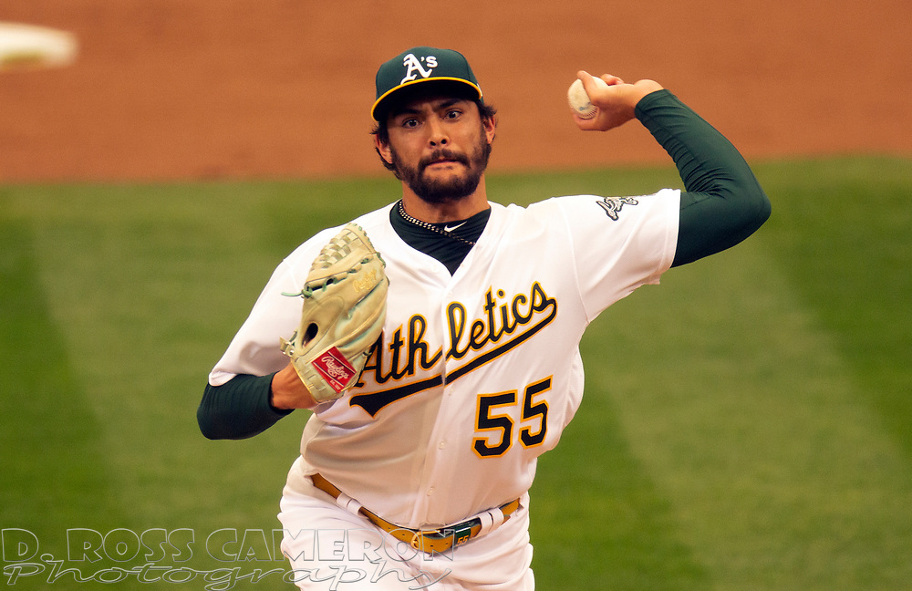 Sep 10, 2020; Oakland, California, USA; Oakland Athletics starting pitcher Sean Manaea (55) delivers a pitch against the Houston Astros during the second inning of a baseball game at Oakland Coliseum. Mandatory Credit: D. Ross Cameron-USA TODAY Sports