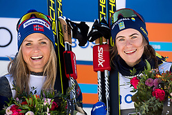 March 10, 2019 - Oslo, NORWAY - 190310 Therese Johaug of Norway and Ebba Andersson of Sweden celebrate on the podium after the women's 30 km classic technique mass start during the FIS World Cup on March 10, 2019 in Oslo..Photo: Jon Olav Nesvold / BILDBYRÃ…N / kod JE / 160424 (Credit Image: © Jon Olav Nesvold/Bildbyran via ZUMA Press)