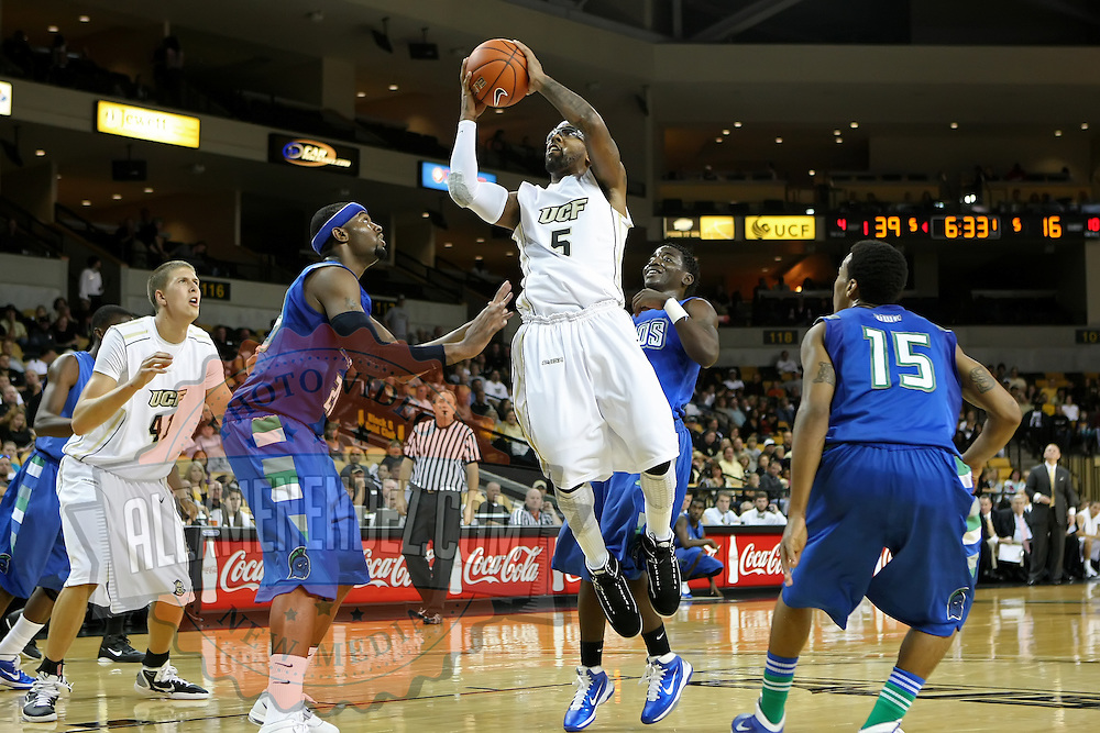Marcus Jordan (5) of the University of Central Florida Knights mens basketball team drives to the basket against the West Florida Argonauts in the first home game of the 2010 season at the UCF Arena on November 12, 2010 in Orlando, Florida. UCF won the game 115-61. (AP Photo/Alex Menendez)