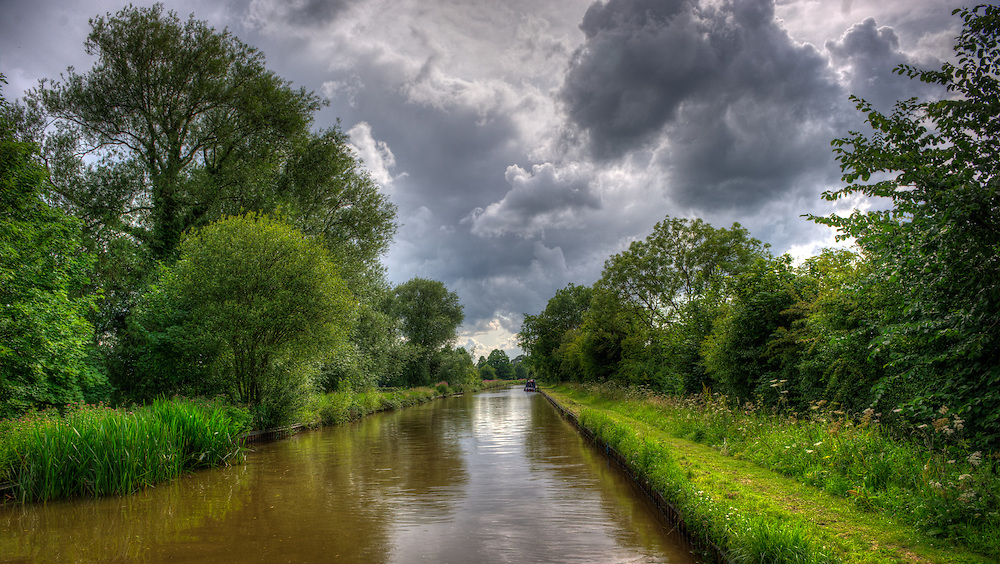 Narrow boat canal in Wales.