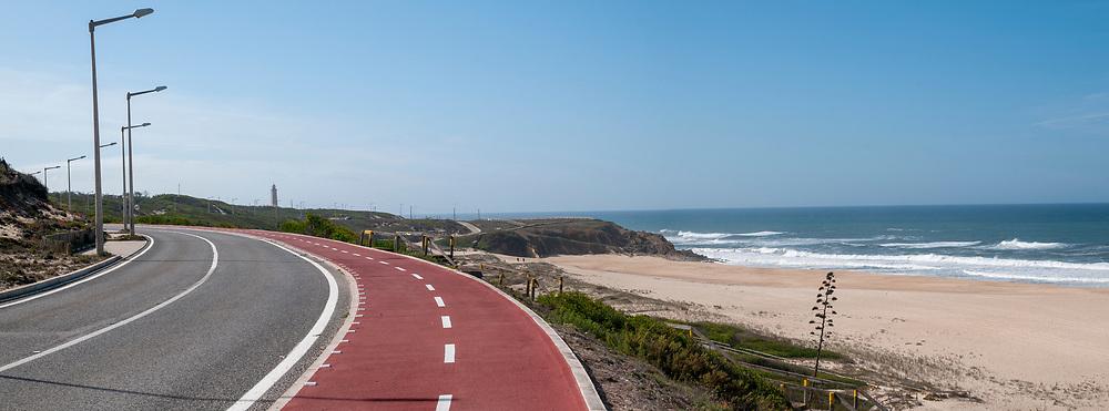 Eurovelo 1 cycling path at Penedo da Saudade Lighthouse (Farol Penedo da Saudade) at Sao Pedro de Moel, Marinha Grande, Portugal