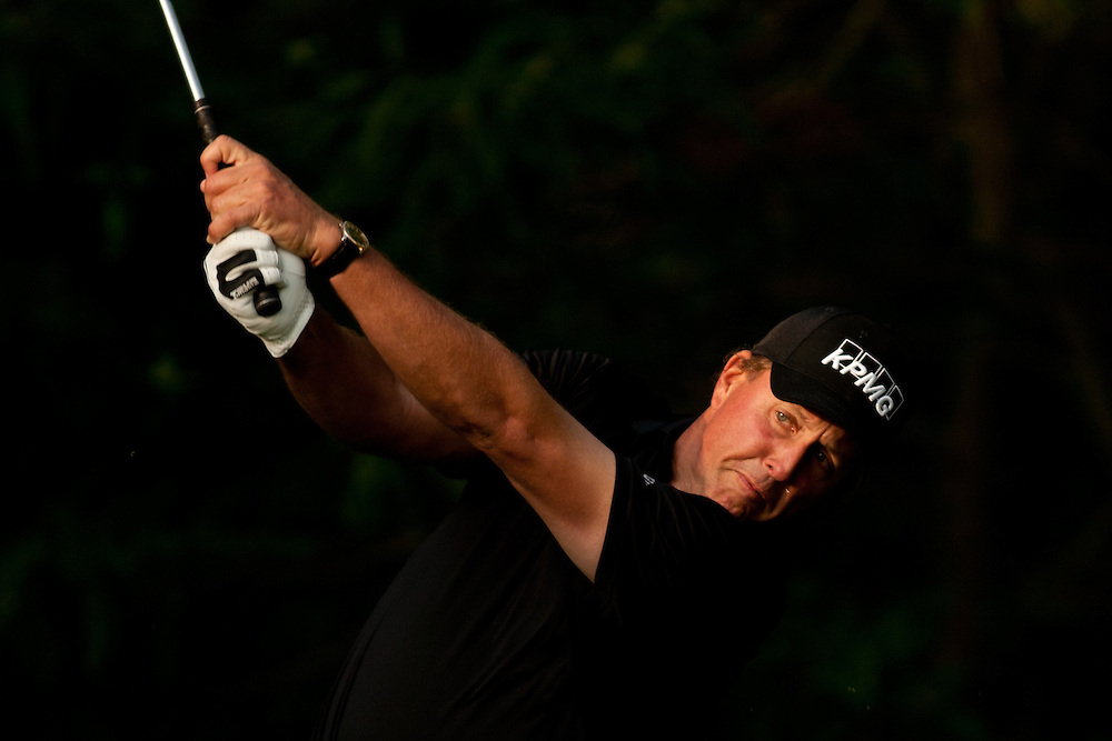 CHARLOTTE, NC - May 6: Phil Mickelson during the second round of the 2011 Wells Fargo Championship at Quail Hollow Club in Charlotte, North Carolina on May 6, 2011. Photograph © 2011 Darren Carroll