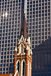 Spire of Cathedral Santuario de Guadalupe, Dallas, Texas, USA.  Located in the Arts District of Dallas, it is the second most attended Catholic Church in the United States.