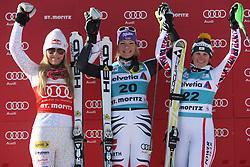 29.01.2012, Corviglia, St. Moritz, SUI, FIS Weltcup Ski Alpin, St. Moritz, Damen, Super-G, Superkombination, im Bild Lindsey Vonn (USA), Maria Hoefl-Riesch (GER) und Nicole Hosp (AUT) jubeln an der Siegerehrung// during Super-G, Supercombination of the FIS Ski Alpine Worldcup, Women at the Corviglia Course in St. Moritz, Switzerland on 2012/01/29. EXPA Pictures © 2012, PhotoCredit: EXPA/ Freshfocus/ Andy Mueller..***** ATTENTION - for AUT only *****
