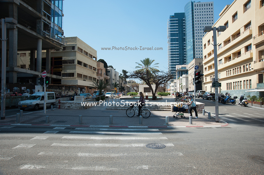 Israel, Tel Aviv, Founders Square Rothschild Boulevard. In memory of the 69 people who founded Tel Aviv in 1909