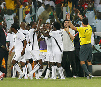 Photo: Steve Bond/Richard Lane Photography.<br />Ghana v Guinea. Africa Cup of Nations. 20/01/2008. Sulley Muntari is congratulated on his late winner