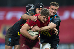 March 23, 2019 - Limerick, Ireland - Dan Goggin of Munster in action with the ball during the Guinness PRO14 match between Munster Rugby and Zebre at Thomond Park Stadium in Limerick, Ireland on March 23, 2019  (Credit Image: © Andrew Surma/NurPhoto via ZUMA Press)