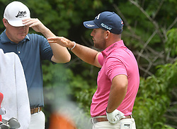 July 15, 2018 - Silvis, Illinois, U.S. - SILVIS, IL - JULY 15:  Scott Brown, right, talks with Chad Campbell during a break on the #2 tee during the final round of the John Deere Classic on July 15, 2018, at TPC Deere Run, Silvis, IL.  (Photo by Keith Gillett/Icon Sportswire) (Credit Image: © Keith Gillett/Icon SMI via ZUMA Press)