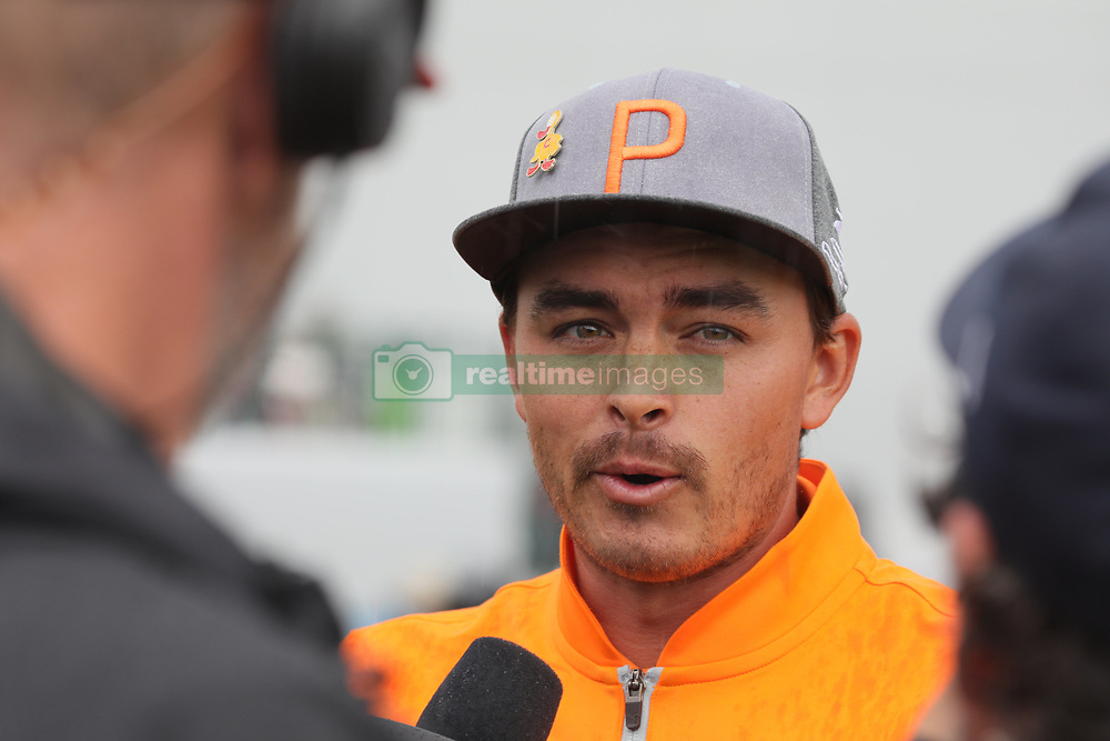 February 3, 2019 - Scottsdale, AZ, U.S. - SCOTTSDALE, AZ - FEBRUARY 03: Rickie Fowler is interviewed by television immediately after winning the Waste Management Phoenix Open on February 3, 2019 at TPC Scottsdale in Scottsdale, Arizona. (Photo by Will Powers/Icon Sportswire) (Credit Image: © Will Powers/Icon SMI via ZUMA Press)