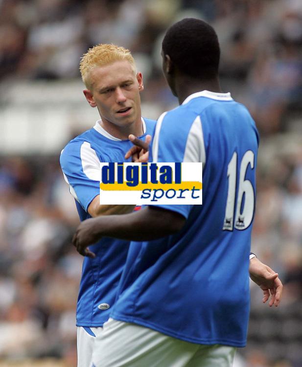 Photo: Paul Thomas. Derby County v Birmingham City, Pre season friendly, Pride Park, Derby. 23/07/2005. Mikael Forssell congratulates Emile Heskey on scoring.