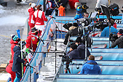SOELDEN, AUSTRIA. OCTOBER 17 2020:  1st Women's Giant Slalom as part of the Alpine Ski World Cup in Solden on October 17, 2020; Run 2, athlets giving TV interviews wearing masks and respecting social distancing.  ( Pierre Teyssot/ESPA Images-Image of Sport)