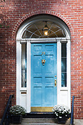 Elegant front door of a home in the Beacon Hill historic district of the city of Boston, Massachusetts, USA