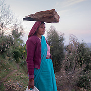 A woman carrying wood on her head. In the Himalaya.
