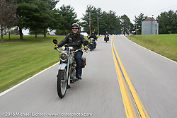 Frankfurt, Germany Harley-Davidson dealer Thomas Trapp (L) riding his 1916 Harley-Davidson F during Stage 4 of the Motorcycle Cannonball Cross-Country Endurance Run, which on this day ran from Chatanooga to Clarksville, TN., USA. Monday, September 8, 2014.  Photography ©2014 Michael Lichter.