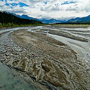 North America, Alaska, Northwest, Denali, Denali National Park, Gravel bars in the Teklanika River, Denali National Park, Alaska.