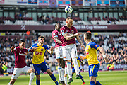 Marko Arnautovic (West Ham) heads the ball away from goal during the Premier League match between West Ham United and Southampton at the London Stadium, London, England on 4 May 2019.