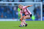 Erin Cuthbert (#22) of Scotland attempts to take a quick free kick during the International Friendly match between Scotland Women and Jamaica Women at Hampden Park, Glasgow, United Kingdom on 28 May 2019.