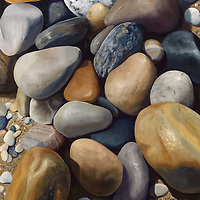 Earth toned rocks form a naturally peaceful assemblage, and one can almost smell the salt air. <br /> SOLD.  Prints available upon request.