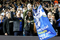 Leeds United fans with a banner that reads 'Official Leeds Spy On Tour' during the Sky Bet Championship match at Elland Road, Leeds.