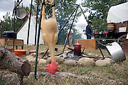 plastic chicken hangs near a campfire