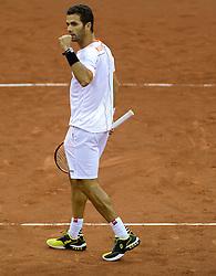 Robin Haase en Jean-Julien Rojer 13-09-2014 NED: Davis Cup Nederland - Kroatie, Amsterdam<br /> Nederland verliest de dubbel en staat op de tweede dag met 2-1 achter / Jean-Julien Rojer